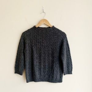 Club Monaco Grey Cable Knit Cropped Sweater